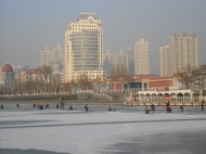 Frozen River in Tianjin, China