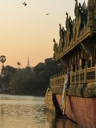 Karaweik and Shwedagon Pagoda, Yangon, Burma
