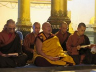Monks at Shwedagon Pagoda, Yangon, Burma